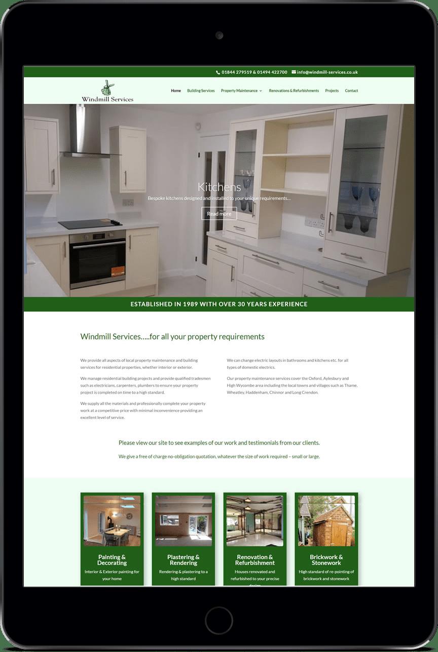 Windmill Services website design by Thame-based Website DNA