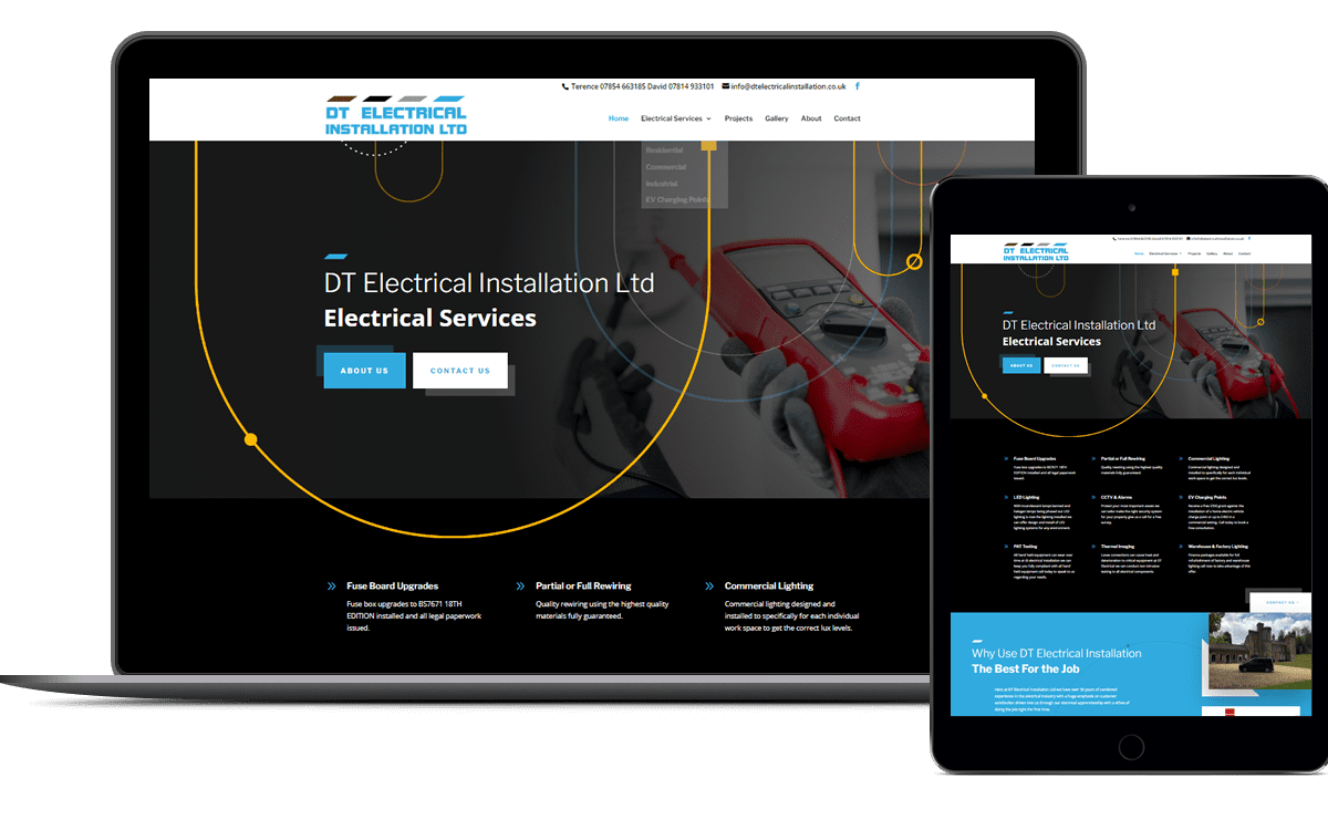 Website design for Yorkshire electrical services company